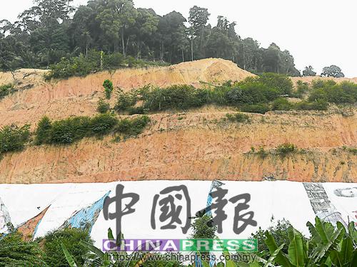 李映霞指出,工程早前未蓋上防水布,近日發生大石墜落事故后,才放置防水布作為安全措施。