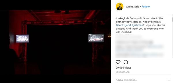柔佛二王子在Instagram上載視頻透露,獻上一份神秘禮物給壽星公王弟。