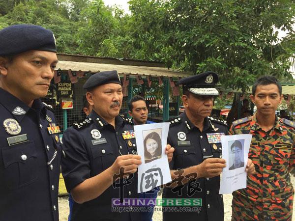 莫哈末卡利(右2起)和莫哈末卡馬魯丁公布男女失蹤者的照片。