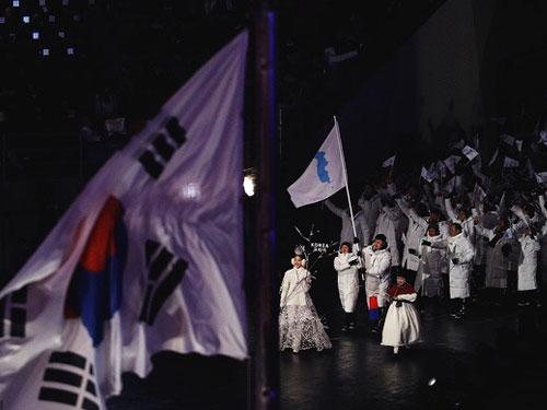 韓國朝鮮攜手進塲。(互聯網)