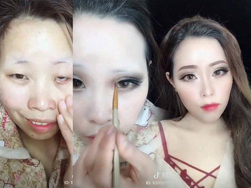女子化妝全過程。