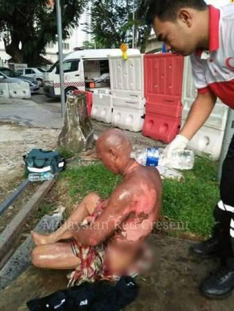 醫護人員趕抵現場后,將傷者送往吉隆坡中央醫院急救。(照片取自面子書)