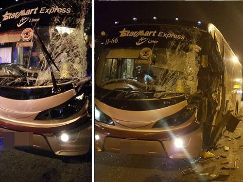 巴士行駛時,無故猛撞前方拖格羅厘,造成5人受傷送院。
