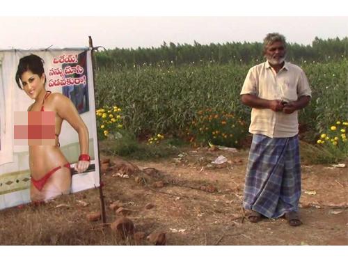 右為農夫雷迪,左為前色情片女星森妮萊昂海報。