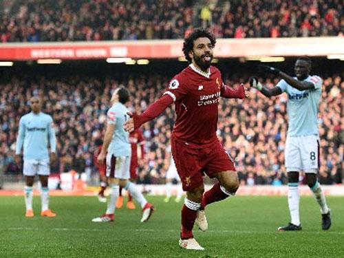 狀態不俗的埃及球員薩拉赫,為紅軍貢獻一球。(法新社)