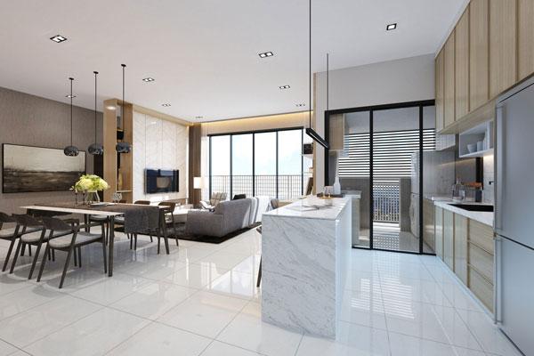 客廳、廚房和飯廳相接的房型設計,促進夫妻和親子關係。