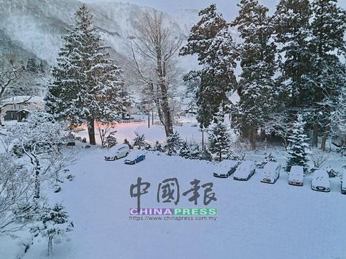 一大早從溫泉旅館套房往外看的雪景,令人立馬精神抖擻。