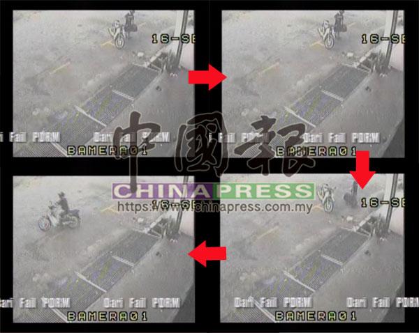 閉路電視畫面顯示,1名摩哆騎士曾到現場,將一個行李箱棄置在樓梯口處,但看不清摩哆的車牌號碼。
