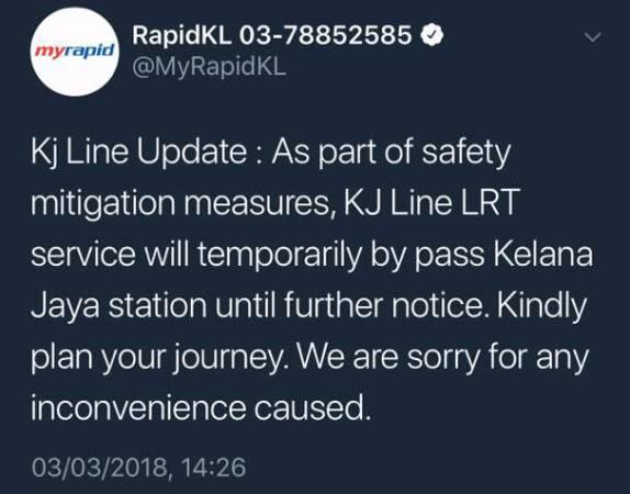 RapidKL發文證實,當局將暫時關閉格拉那再也輕快鐵站,公眾受促規劃路線。