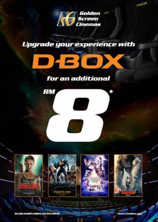特選4套電影,如今升級至D-Box動感座椅,只需額外附加8令吉。