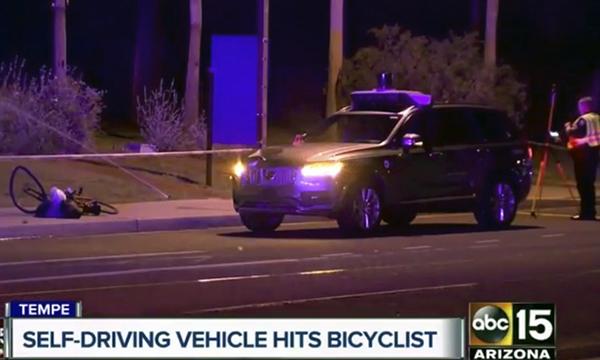 事發現場:發生致命意外後,Uber已暫停所有自駕車的測試。(美聯社)