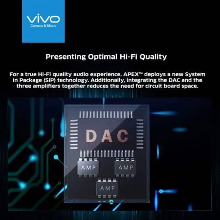 全面屏手機依然保持良好Hi-Fi音質,APEX還創造性地採用SIP技術,高效封裝一顆DAC解碼芯片及三顆運放芯片。