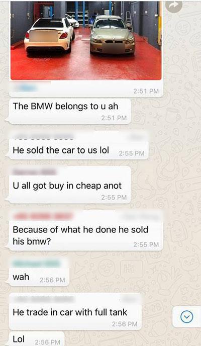 有網友分享了寶馬哥的車已經賣到某個二手車廠的照片。也有人分享了一張相信是二手車同行群組聊天記錄, 記錄顯示寶馬哥在週一將寶馬賣出。二手車商還笑說寶馬哥開著滿缸汽油到車行。