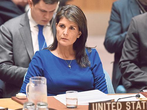 美國駐聯合國大使海莉出席聯合國會議。(法新社)