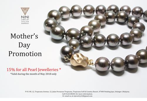 配合溫馨的母親節,霓霓珠寶設計有限公司在5月份推出特惠,凡購買任何珍珠首飾都可獲得15%折扣優惠。