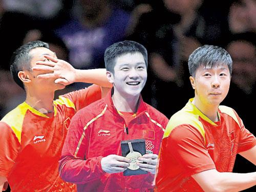 左:為中國贏下致勝第3分,許昕親吻自己左手慶祝。(歐新社) 中:打足8場並保持全勝的中國男單樊振東,當選為賽會最有價值球員。(路透社) 右:去年升級當爸爸的馬龍以搖籃動作慶祝勝利。(歐新社)
