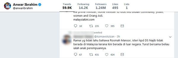 安華的推特轉載網民的推文,招致其他網民不滿。