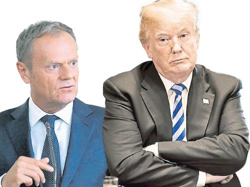 圖斯克(左)呼吁歐盟自立自強,指有美國總統特朗普這樣的朋友,何需敵人? 右為美國總統特朗普。
