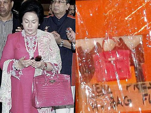羅絲瑪持桃紅色手提包和警方搜出的桃紅色手提包。。