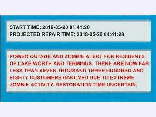 萊克沃思市政府在通知停電的簡訊中,竟誤入「喪屍警報」字眼。