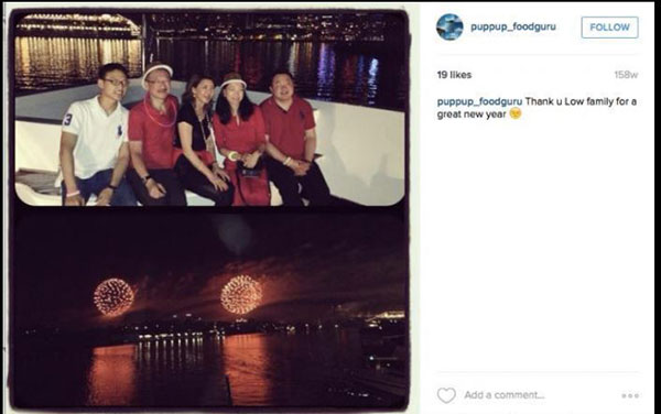 劉特佐租豪華遊艇載朋友在海上觀賞悉尼倒數活動的煙花表演。