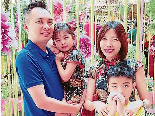 張琿珊非常感謝家人一直來的支持;圖為她的丈夫和一對子女。