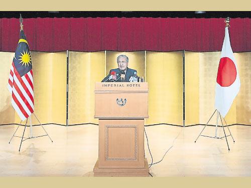 馬哈迪向旅居日本的大馬人民致詞。