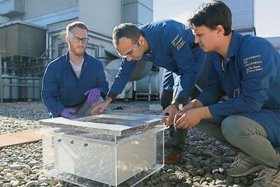 研究人員在沙漠中測試集水設備。