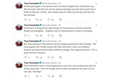 東尼費南德斯通過個人推特推文,讚揚陸兆福指示馬來西亞航空委員會,檢討向乘客徵收乘客服務費的措施。