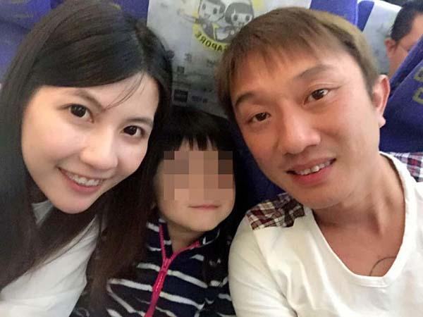 李志光(右)遺下29歲妻子林恩嘉(左起)和6歲女兒。