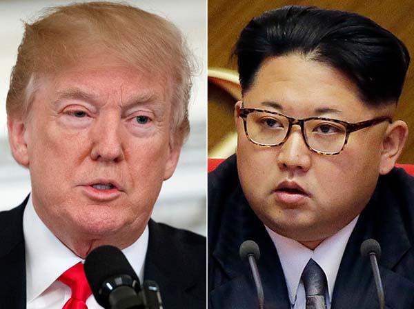特朗普(左)與金正恩(右)本月12日將在新加坡會談。(資料照片)
