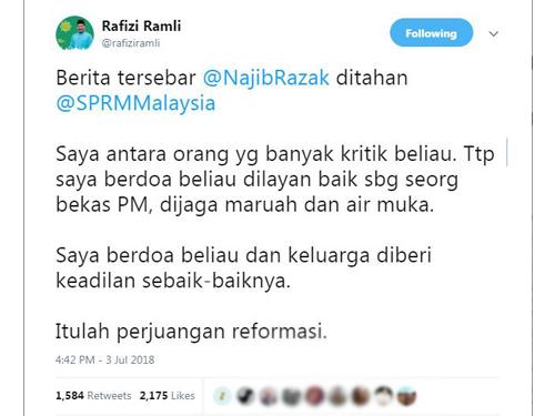 拉菲茲透過推特呼籲反貪會善待納吉。(取自拉菲茲推特)