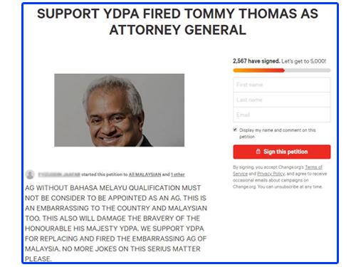 網友在網站發動請願,要求國家元首革除湯米湯姆斯的總檢察長一職。