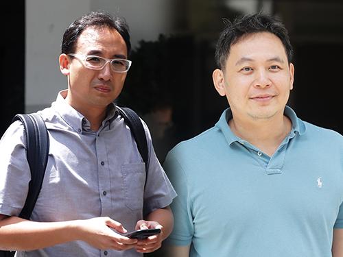 左:起诉人郑光裕;右:答辩人刘振展。(档案照)
