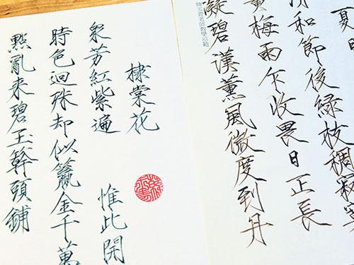 韓玉青以古式鋼筆書寫宋徽宗瘦金體,令人難以置信。