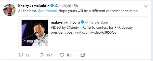 凱里在推特祝福拉菲茲當選。
