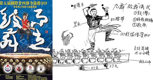 """小曼于1988年為""""九舞""""繪畫的""""啟舞""""九鼓雷鳴構圖,非常經典。如今,這張圖成為二十四節令鼓同道中人的佳話(畫)!"""