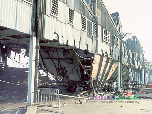 坍塌后的碼頭外觀。(檔案照)