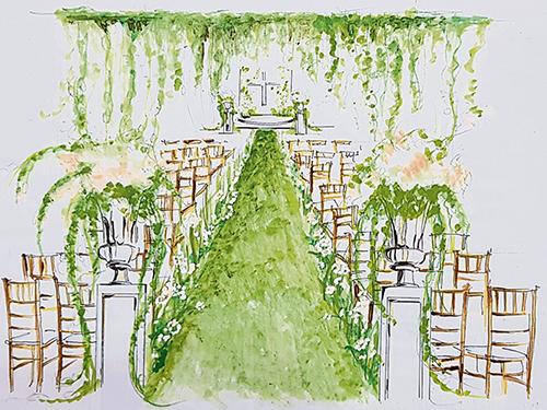 從情緒板到實景,裡頭耗盡了心思,用花語、花香成就生命的喜悅!這是Sring Cottage設計的婚禮場面一隅。