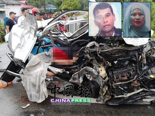 拖格羅厘的車頭部分損壞,司機僅受輕傷。小圖為死者阿末遺照(左)及死者羅哈娜遺照。