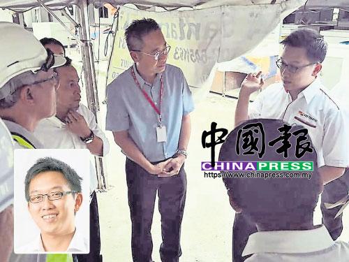丁傑隆(右、小圖)早前與蓮花苑州議員黎濰裮(右2)一起巡視民生。