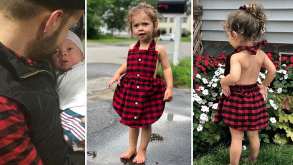 格蘭將丈夫在女兒出生當天穿的紅黑格仔恤衫,改成小裙子給女兒穿。(互聯網)