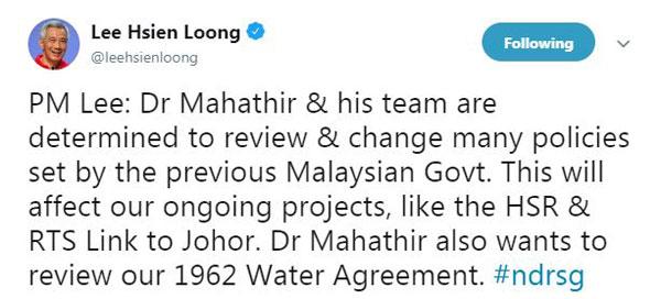 李顯龍在推特發布國慶群眾大會演講部分內容時,指馬哈迪與其團隊決定檢討前朝政府定下的政策。(截自李顯龍推特)