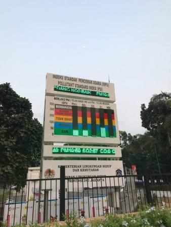 ■耶加達蓬加諾體育城內,有一個空氣污染指數的儀表,顯示著當時的空氣素質。亞運開幕至今的空氣,大部分時間都處於良好水平的。 (本報梁展威攝影)
