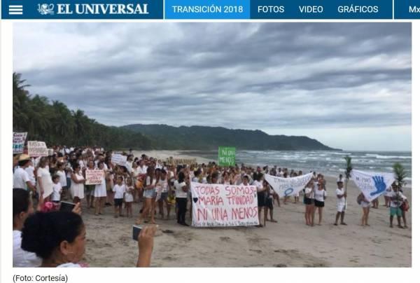 哥國民眾到特諾里歐遇害的海灘致意。