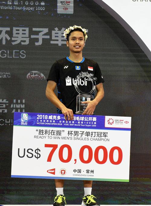 靳汀获得男单冠军与7万美元(约28万令吉奖金)。(法新社)