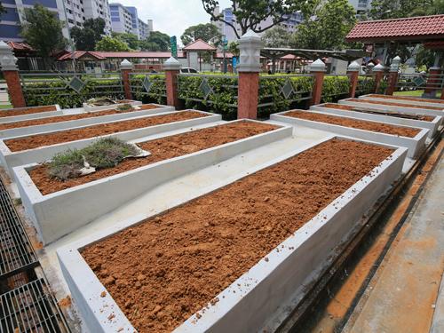 用混泥土矮墙个别间隔起来的种植区,刚好足以容纳得下一个成年人,乍看之下像墓碑。