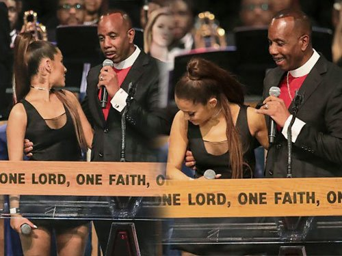主持葬禮的牧師查爾斯一邊摟著亞莉安娜的腰一邊致詞,沒想到查爾斯的手越摟越高,最后竟直接按在亞莉安娜的胸部上。