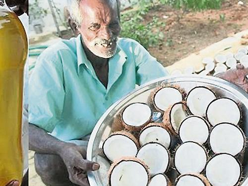 印度人喜歡使用老椰制造椰油使用。(網絡照片)