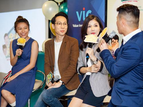溫慧茵(左起)、顏江瀚、劉元元在記者會上分享個人理財心得。